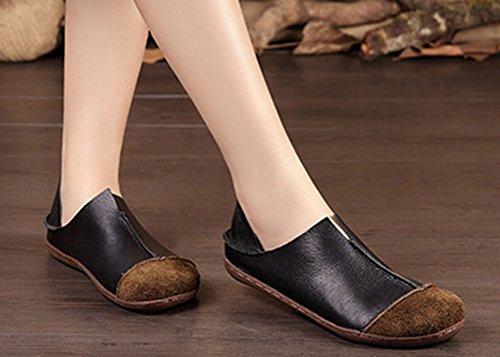 Soojun Dames Premium Lederen Fashion Slip Op Plat Zwart