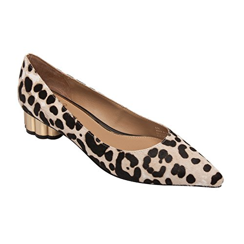 (Linea Paolo Toledo | Pointy Toe Sculpted Metal Heel Mid-Height Pump White/Black Leopard Print Hair Calf 10M)