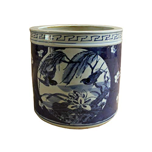 Vase & Plate Chinese Blue & White Porcelain Flower Bird Brush Holder Pot Acs4226