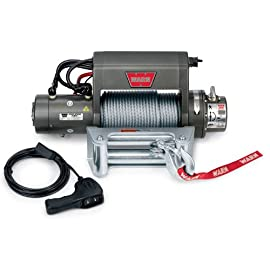 WARN 27550 XD9000i Series Electric 12V Winch with Steel Cable Wire Rope: 5/16″ Diameter x 125′ Length, 4.5 Ton (9,000 lb) Lifting/Pulling Capacity