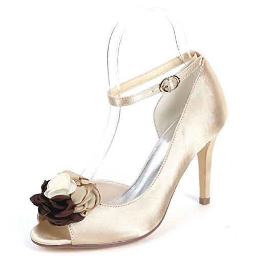 Sandalias court Shoes Mujer Cm De Seda Chunky Bajos Boda Zapatos 9 Noche Satén Champagne Eleoulck Tacones Hw7x6O0qHn