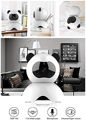 EsiCam Baby Monitor Wifi Hidden Camera Nanny Camera for Smart Phone, Toy Panda for Kids Pet Care HD 1080P Pan Tilt Motion Detection Alarm Recording Two-way Audio Night Vision SD Card P2P Cloud Account
