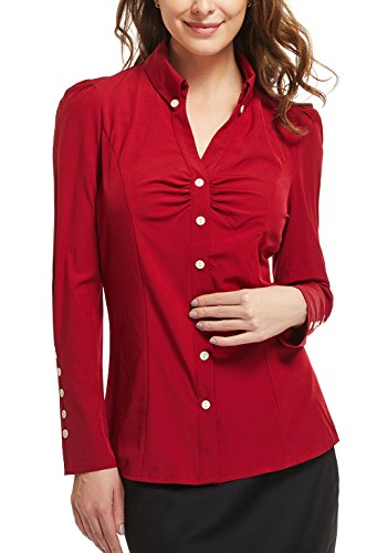 r Women Point Collar V-Neck Ruffled Chest Ruched Long Sleeve Buttons Decor Cuff Top Shirt (Large(US-14), Burgundy) ()