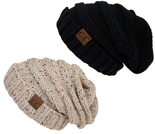 H-6100-2-062067 Oversized Beanie Bundle - Solid Black & Confetti Oatmeal (2 Pack) ()