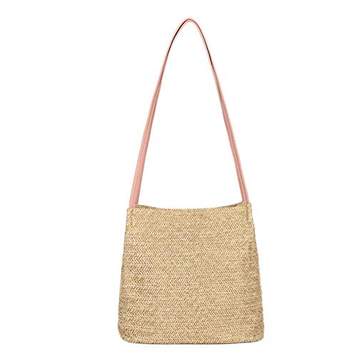 Hurber Women Natural Chic Hand-Woven Round Handle PU Leather Toto Retro Large Casual Summer Beach Handbags (Powder pink)