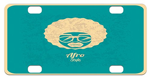 Afro Mini License Plate by Lunarable, Silhouette of a Woman with Glasses Vintage Hairstyles Black Culture Soul Rock'n Roll, High Gloss Aluminum Novelty Plate, 2.94 L x 5.88 W Inches, - Hairstyle Glasses
