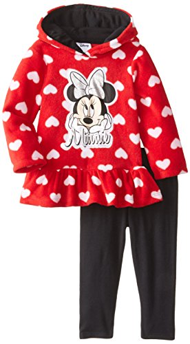 Disney Baby Girls' Minnie Mouse 2 Piece Heart Fleece Set, Chinese Red, 18 Months ()