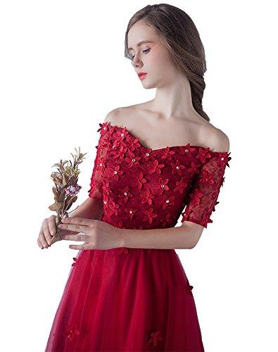 Blumen Hülsen Kleid Erosebridal Rot Brautjungferkleid Hochzeit Halbe wSwqg