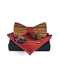 Men's Wooden Bow Tie Handmade Adjustable Pre-tied Bowlties Square Scarf Cufflinks Brooch Set (S1)