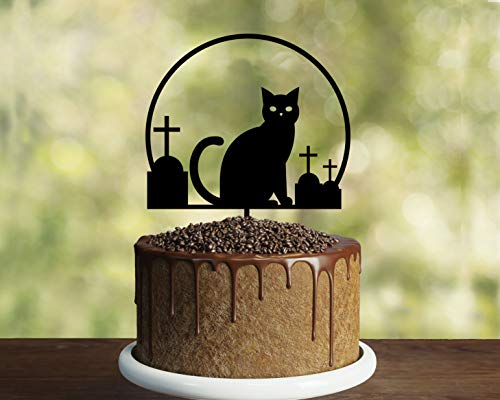 Funny Cake Topper, Halloween Cake Topper Idea, Black Cat, Happy Birthday Cake Topper,Party Event Favors Decorations