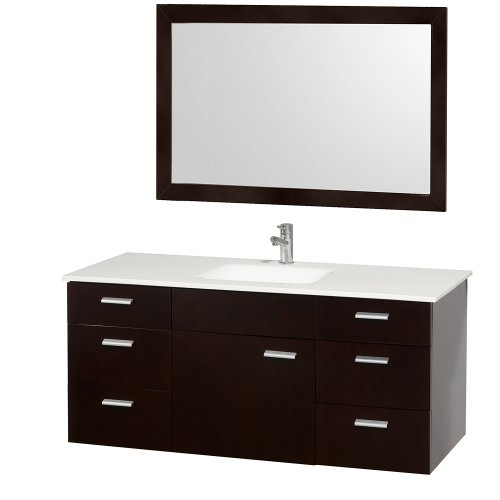 52 Inch Vanity (Wyndham Collection Encore 52 inch Single Bathroom Vanity in Espresso with White Man-Made Stone Top with White Integral Square Sink)