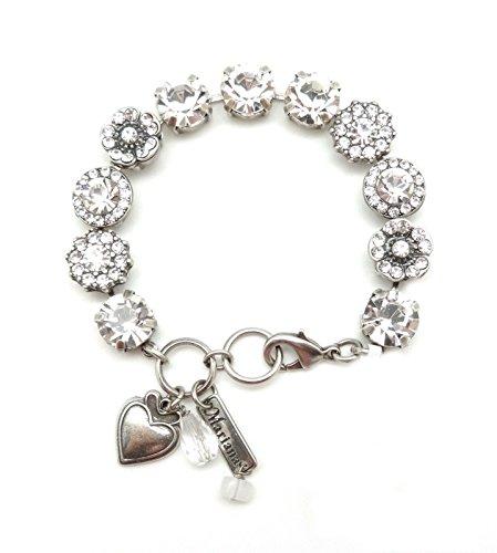Mariana On a Clear Day Swarovski Crystal Silvertone Bracelet Clear Flower Mosaic Sophia 001001