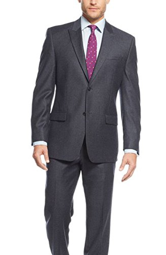 - Marc Ny Classic Fit Navy Blue Flannel Two Button Wool Suit With Peak Lapels