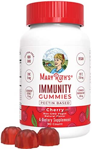 Immunity Gummies by MaryRuth's - Immune System Booster for Kids & Adults - Echinacea, Elderberry, Vitamins C, D & Zinc - Organic Ingredients Vegan Non-GMO Gluten-Free Pectin-Based Cherry Flavor 90ct