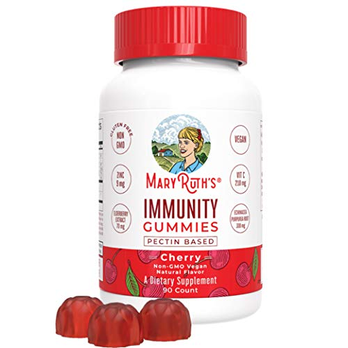 Cherry Zinc Vitamins - Immunity Gummies by MaryRuth's - Immune System Booster for Kids & Adults - Echinacea, Elderberry, Vitamins C, D & Zinc - Organic Ingredients Vegan Non-GMO Gluten-Free Pectin-Based Cherry Flavor 90ct