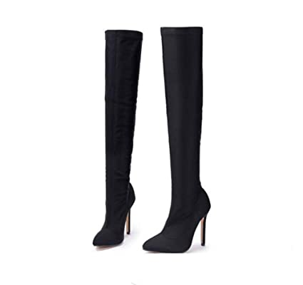 144f23332ee Onfly Women Thigh High Boots Stretch Stovepipe Boots Pointed Toe 11.5cm  Stiletto Candy Colors Charming