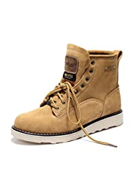 Viplay Winter Wool Cowhide Round-toe Men's Work Boot,Snow Boots