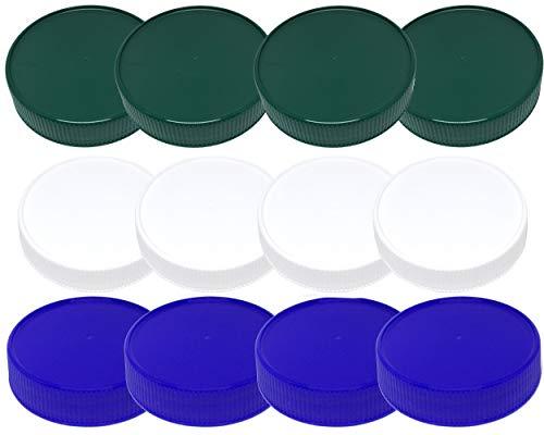 Mason Jar Storage Lids-Plastic (BPA Free) Regular Mouth Mason Jar Lids Set of 12 Reusable Leak Proof Caps are Made in the USA (white green blue)