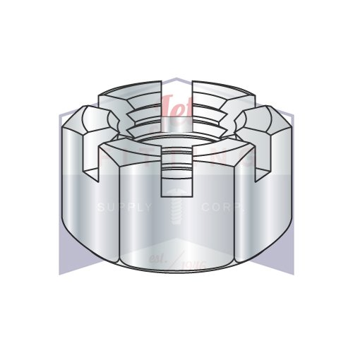 9/16-18 Slotted Hex Nuts | Finished Pattern | Steel | Zinc Plated (QUANTITY: 250)