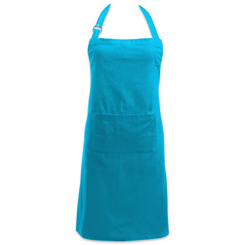 DII Cotton Adjustable Kitchen Chef Apron with Pocket and Extra Long Ties, 32 x 28, Commercial Men & Women Bib Apron for Cooking, Baking, Crafting, Work Shop, BBQ-Neon Blue