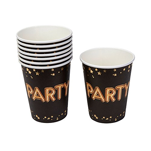 Neviti 773529 Glitz and Glamour Party Paper Cups, Black/Gold ()