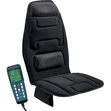 Relaxzen 60-2910 10-Motor Massage Seat Cushion with Heat, Black