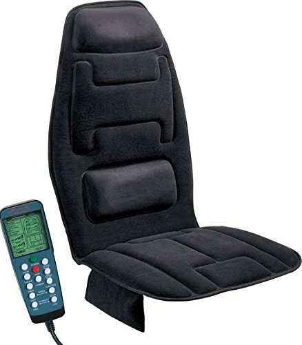(Relaxzen 10-Motor Massage Seat Cushion with Heat, Black)
