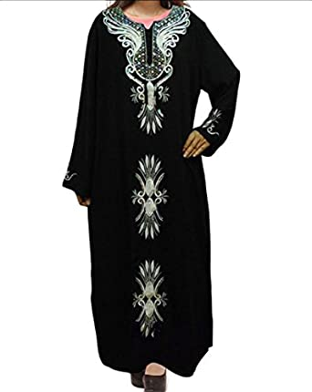Honey GD Women's Loose Fit Islamic Embroidered Long Muslim Abaya