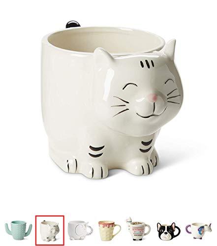 White Ceramic Coffee or Tea Mugs: Tri-Coastal Design Kitty Cat Coffee Mug with Hand Printed Designs and Printed Saying - 18.6 Fluid Ounce Large, Cute Handmade Cup -