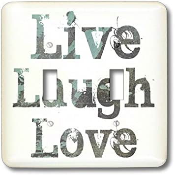 Live Laugh Love Decor Ombre Turquoise Blue Art Metal Light Switch Plate Cover
