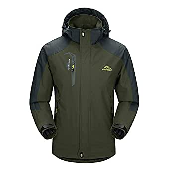 BIYLACLESEN Men's Hooded Raincoat Trench Coat Waterproof Jacket Breathable Mountain Climbing Jacket