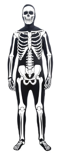 Skin Suit Adult (Forum Novelties Men's Skeleton Man Bone Skin Suit Adult Costume, Multicolor,)