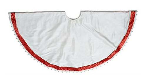 Arcadia Home Ivory Silk Christmas Tree Skirt with Red and Silver Herringbone Border