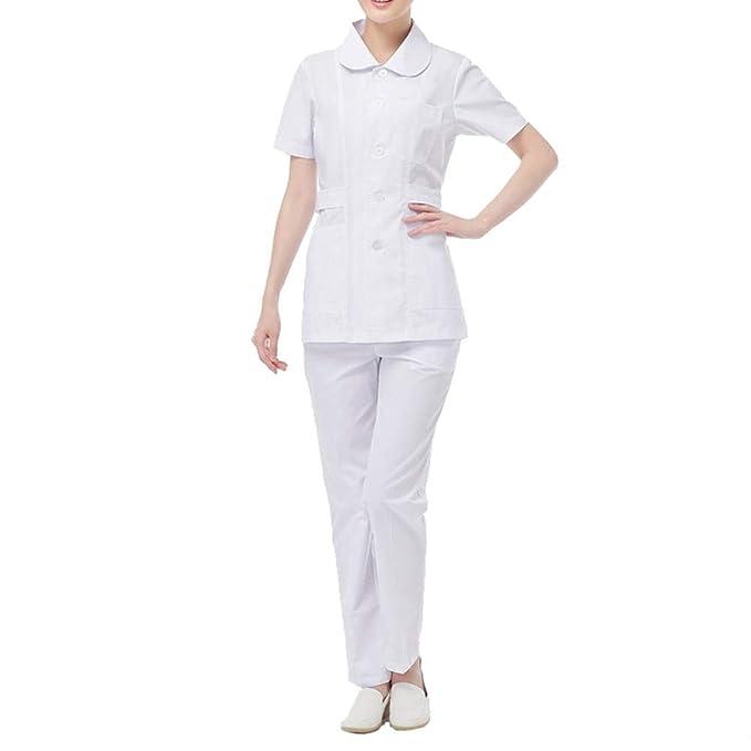 OPPP Ropa médica Traje de Enfermera de Cuello de muñeca de Uniforme de Verano de Uniforme médico de Trabajo Femenino Blanco, S: Amazon.es: Deportes y aire ...