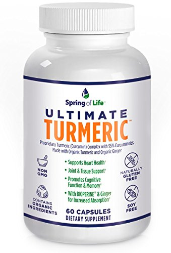 Spring of Life Ultimate Turmeric Curcumin with Bioperine 1500mg – With 95% Curcuminoids – Extra Strength Formula for Maximum Absorption, Joint Comfort & Mobility – Gluten Free – 60 Veggie Caps