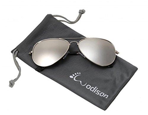 (WODISON Classic Kids Aviator Sunglasses Reflective Metal Frame Children Eyeglass Silver Frame Silver Lens)