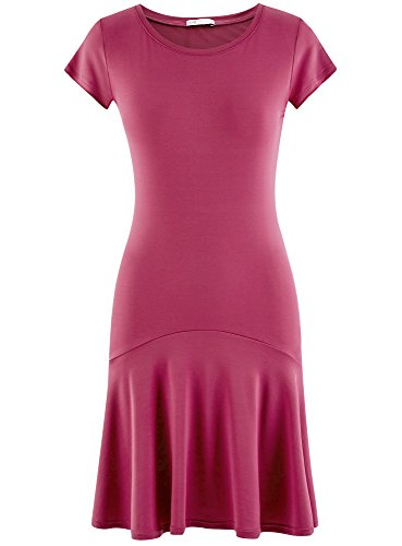 Maille Volants oodji Robe Ultra 4700n Rose Femme fIfAxtqOw6
