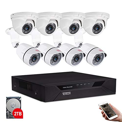 Tonton 8CH Full HD 1080P Security Camera System, 5-in-1 Surveillance Video Recorder with 4PCS Outdoor Indoor Bullet Cameras and 4PCS Dome Cameras, Face Recognition and Night Vision(2TB HDD Included)