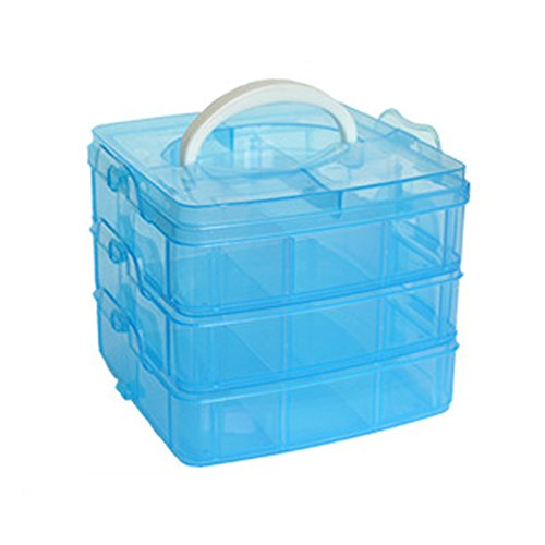 Compartment Slot Plastic Craft Storage Box Jewellery Tool Container For Storing & Organising Sewing Embroidery Threads Bobbins Beads Beauty Supplies Nail Polish(Blue) ()