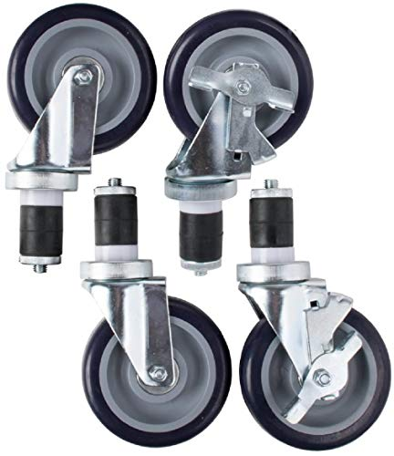 "AmGood Work Table Wheels | Expanding Stem Caster | 4"" Wheel, 2 with brakes"