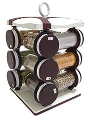 IndiaBigShop 12-Jar 360 Degree Revolving Spice Rack, Masala Box, Storage jar, Spice Box, Plastic Spice Jars, Storing Spices, Kitchen Spice Jars- Brown Color