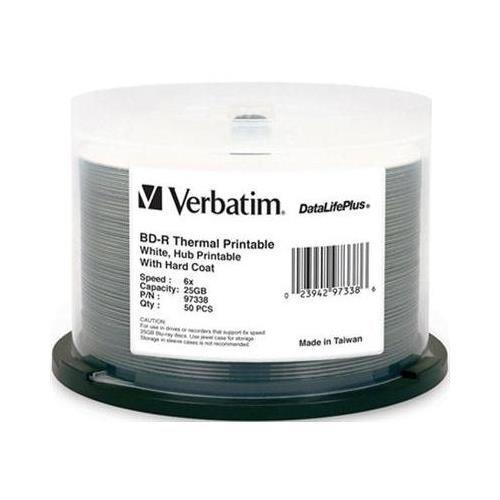 Verbatim DataLifePlus Blu-Ray White Thermal Hub Printable 6X BD-R Media 25GB 50 Pack in Cake Box (97338)