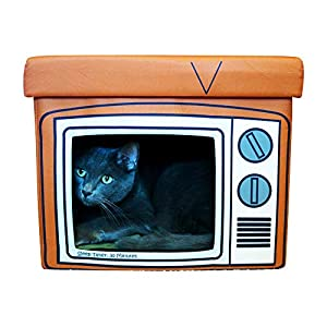 Feline Ruff TV Indoor Cat House Ottoman. A Sturdy Couch Paw-tato Cat Cube Bed with Cushion. Covered Pet Bed Hideaway…