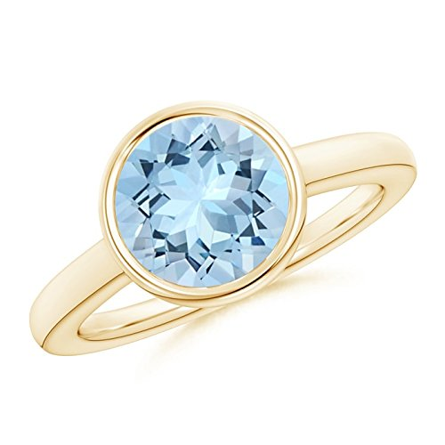 Bezel-Set Round Aquamarine Solitaire Engagement Ring for Women