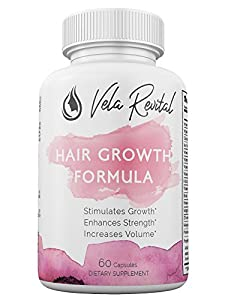 Vela Revital - All Natural Hair Growth Formula For All Hair Types - Stronger Longer Healthier Hair - Potent Vitamins Advanced Supplement Formula Products 60 Capsules Pills