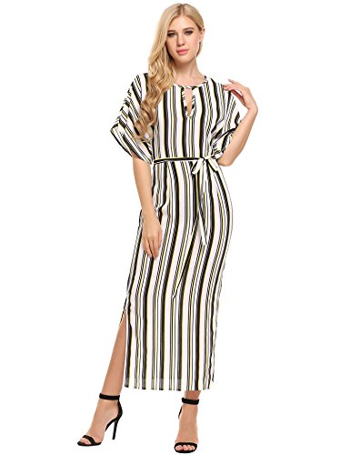 ANGVNS Batwing Sleeve Striped Keyhole