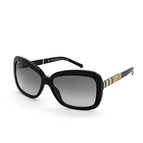Burberry BE4173 300111 Black BE4173 Rectangle Sunglasses Lens Category 2 Size - Black Burberry