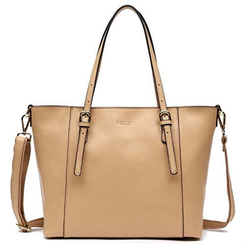 - Vislu Simple and Leisure Style Leather Work Tote Shoulder Bag (Apricot)