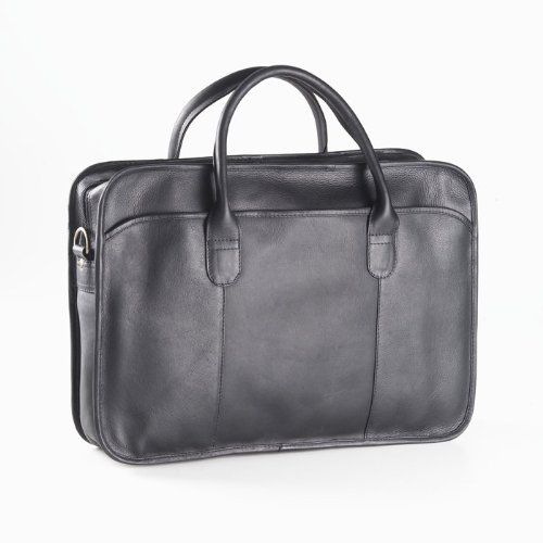 (Clava - Single Gusset Leather Legal Briefcase - Vachetta Black - Vachetta Black)
