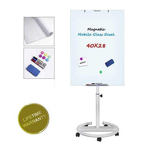 Glass Dry Erase Board Magnetic Mobile Whiteboard with Wheels Height Adjustable Flipchart Easel Stand White Board with Markers, Magnets, Eraser, Paper Pad, 40x28 inch